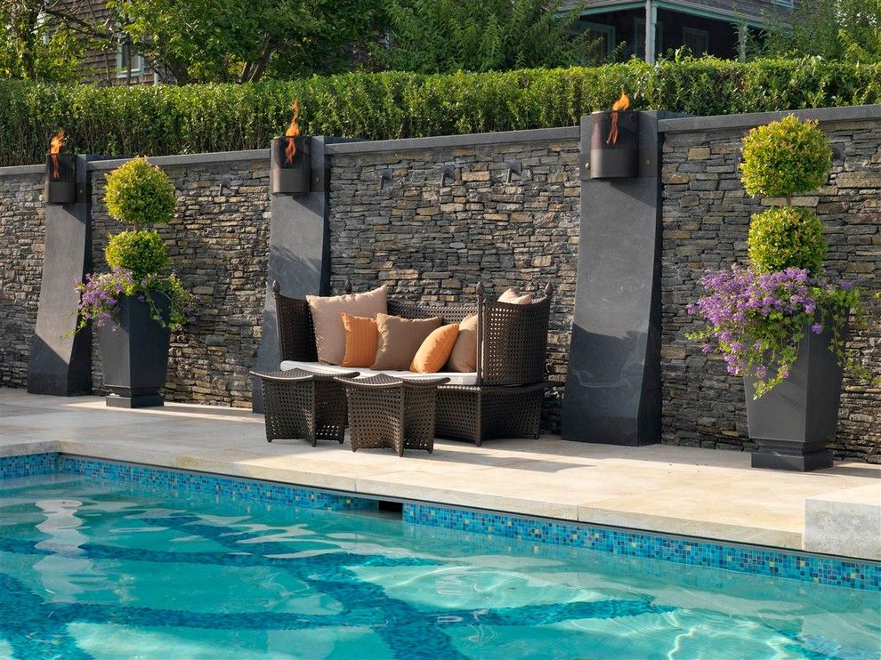 Islander Pools Contemporary Pool Decoration Ideas Providence Blue Pool Tile Fire Feature