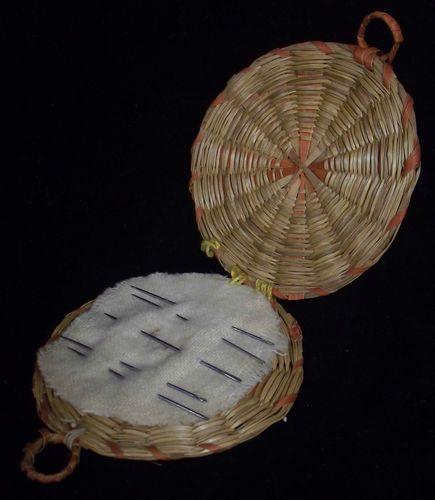 38.00Unusual Antique Native American PENOBSCOT Indian Needle Holder Woven Basket