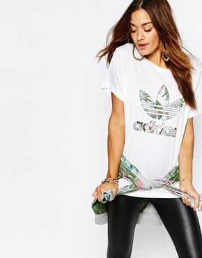 a3d3a446 adidas Originals Adicolour Oversized T-Shirt With Trefoil Logo In Botanical  Floral