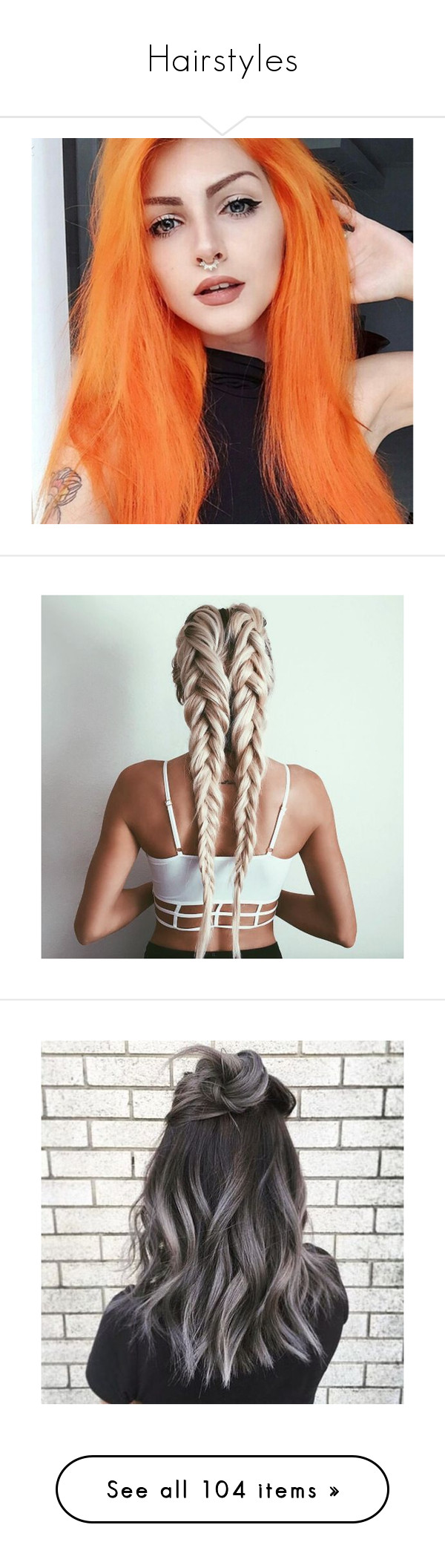 """""""Hairstyles"""" by slim-thick ❤ liked on Polyvore featuring hair, people, pictures, beauty products, haircare, hair styling tools, hairstyles, melanie martinez, faces and filler"""