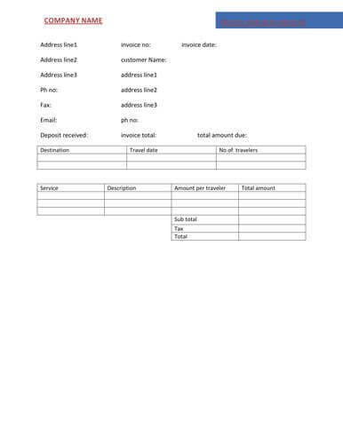 Free Invoice Template by Hloom ASHOKA TOURS AND TRAVELS - deposit invoice templates