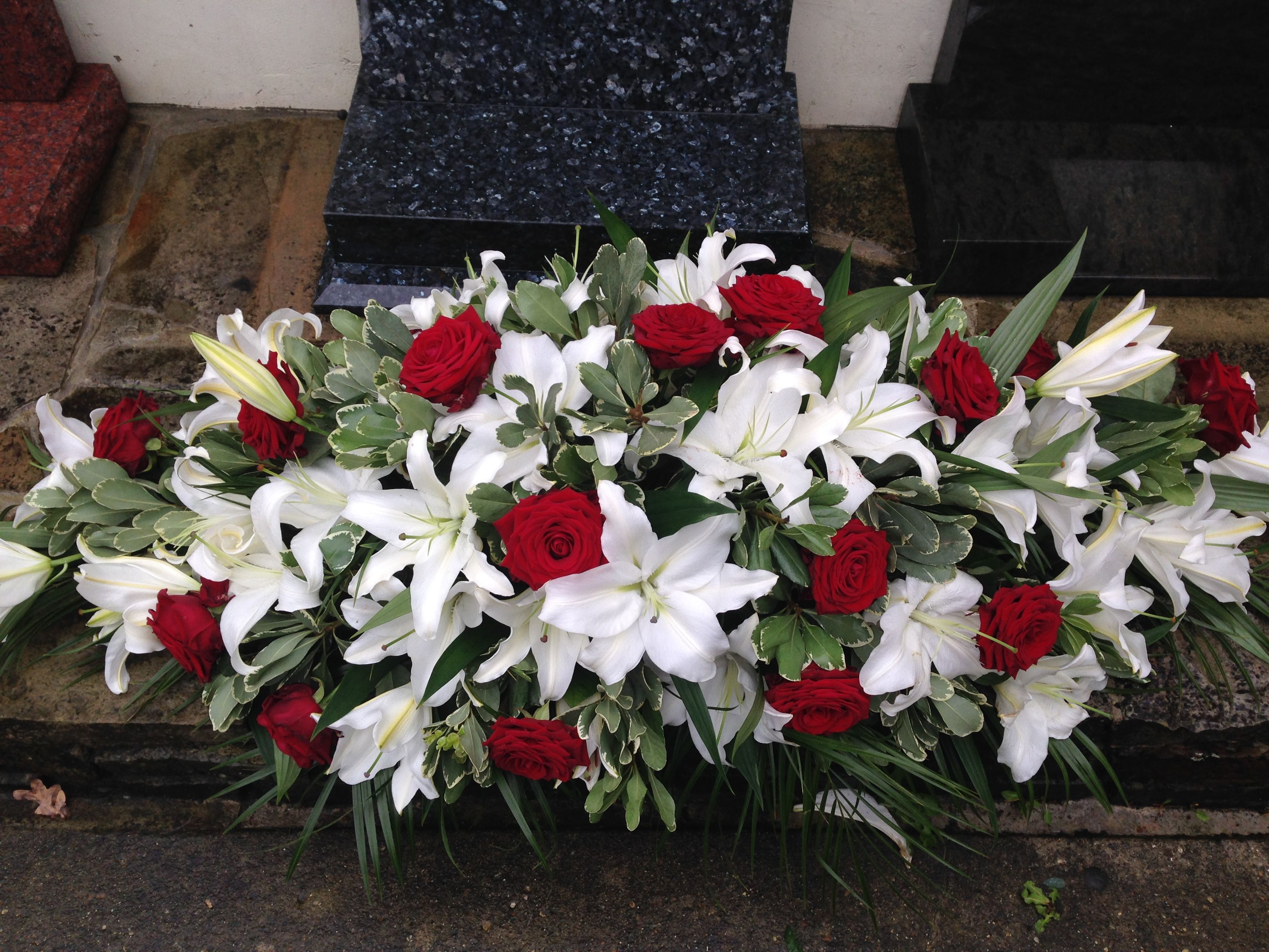 Deep red roses and white lily funeral coffin spray funeral flower deep red roses and white lily funeral coffin spray funeral flower spray funeral spray tribute thefloralartstudio izmirmasajfo