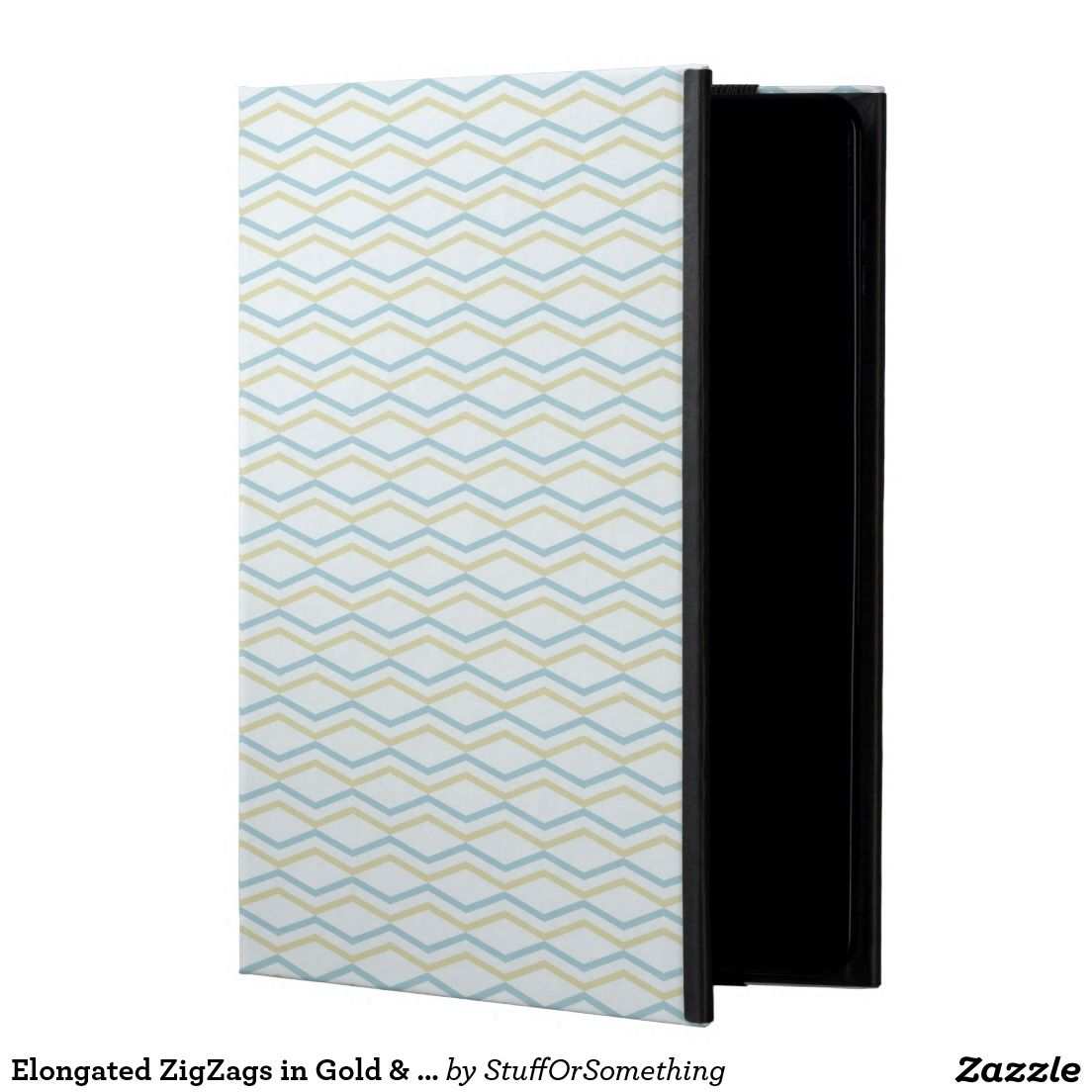 Elongated ZigZags in Gold & Blue Cover For iPad Air