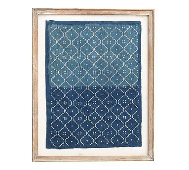 Framed Blue Textile Art Textile Wall Art Pottery Barn Decor Frame Wall Decor