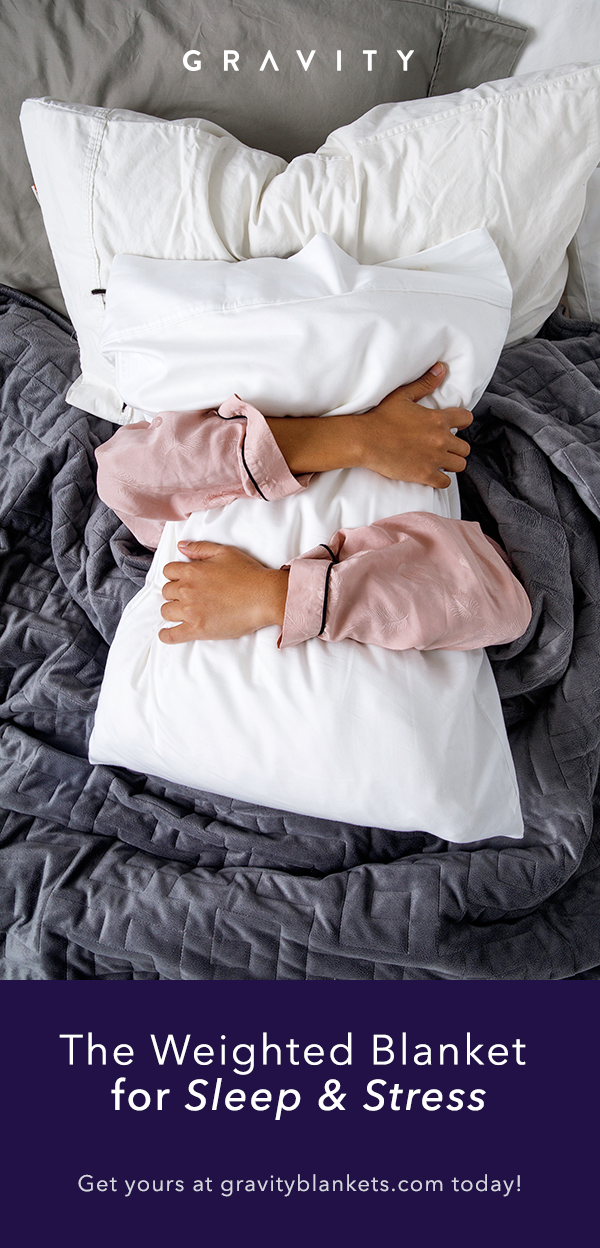Using Evenly Distributed Weight The Gravity Blanket Helps People Fall Asleep Faster And Stay Asleep Longe Gravity Blanket Weighted Blanket How To Sleep Faster