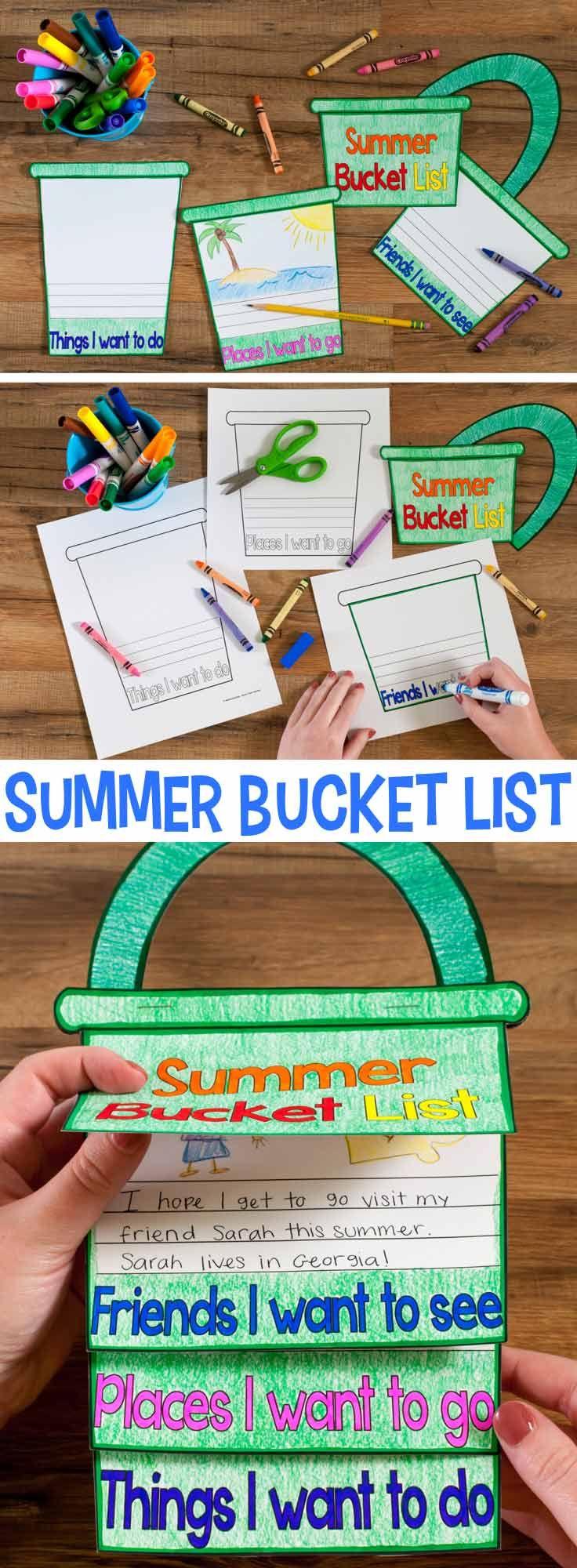 Summer Bucket List Craftivity | Schule, Englisch und Deutsch