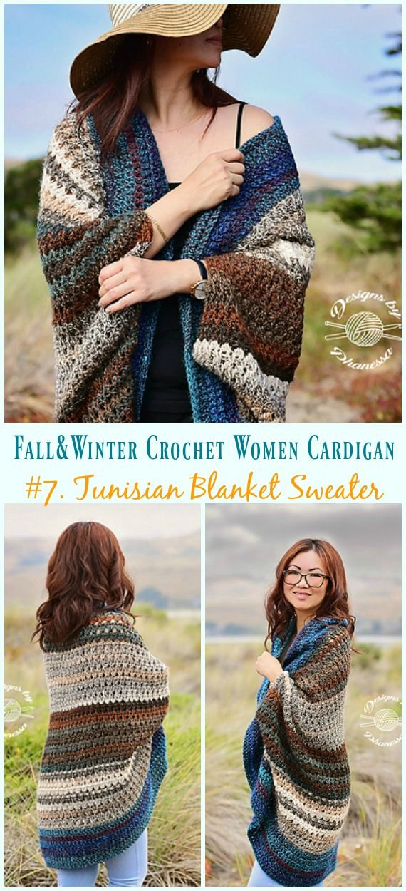 Fall & Winter Women Cardigan Free Crochet Patterns #blanketsweater
