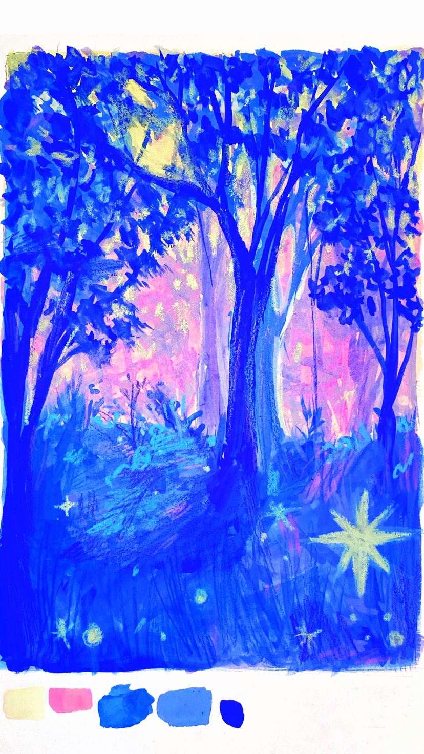 painting a pastel forest