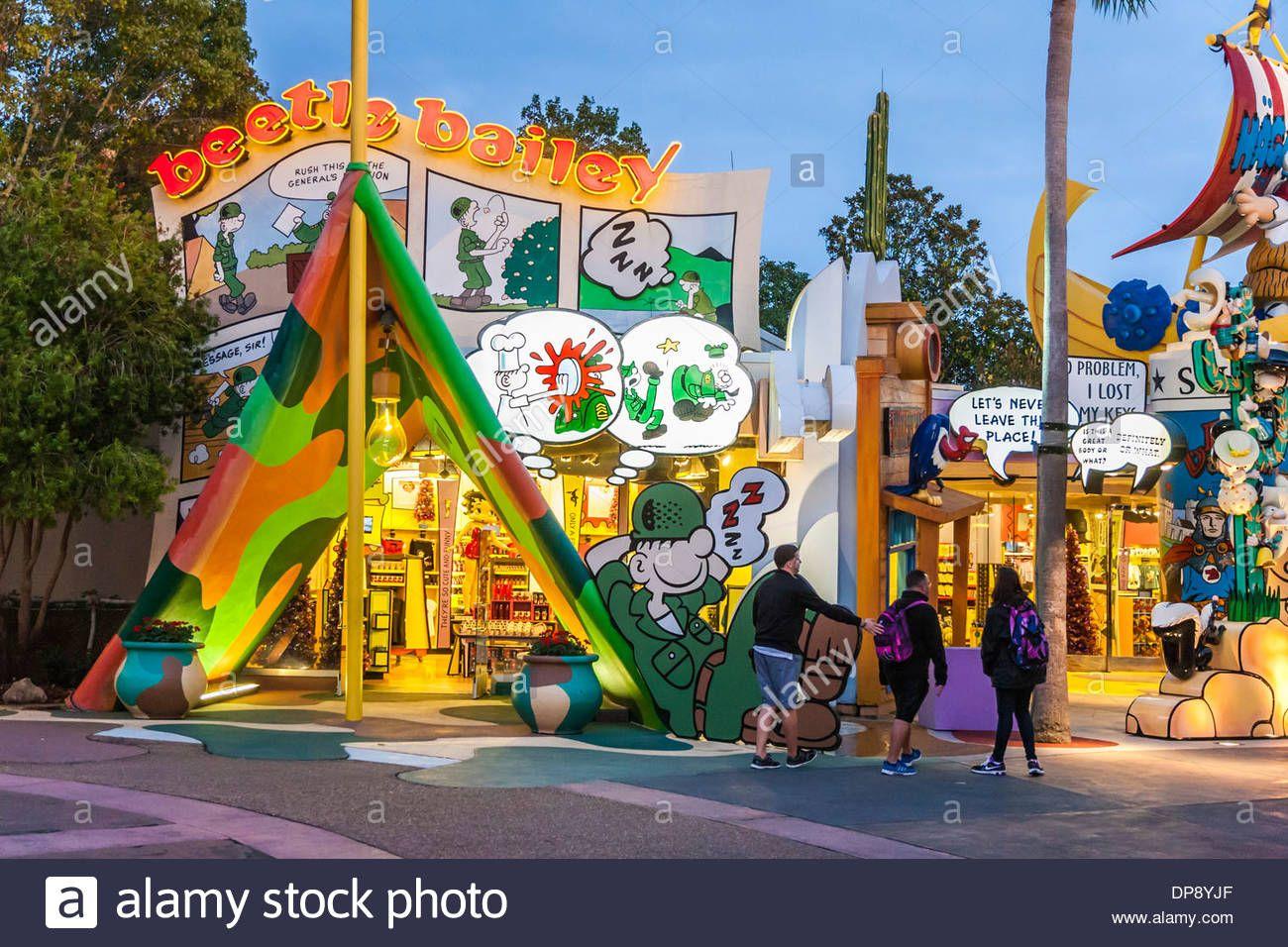 Guests Walking Past Beetle Bailey Shop In Toon Lagoon At Universal Studios Islands Of Adven Universal Studios Theme Park Universal Studios Islands Of Adventure