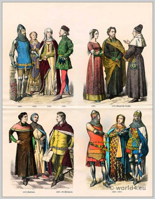English Medieval Fashion In The 14th Century Gothic Clothing Middle Ages Dresses Knights Armor