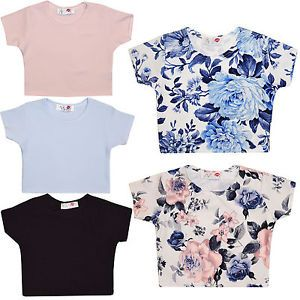 93f8debd7ce03 Girls Crop Top Kids Plain Floral Party Tops   T-Shirts 7 8 9 10 11 12 13  Years