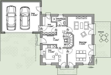 Einfamilienhaus mit integrierter doppelgarage  Bildergebnis für haus mit doppelgarage grundriss | Haus planen ...