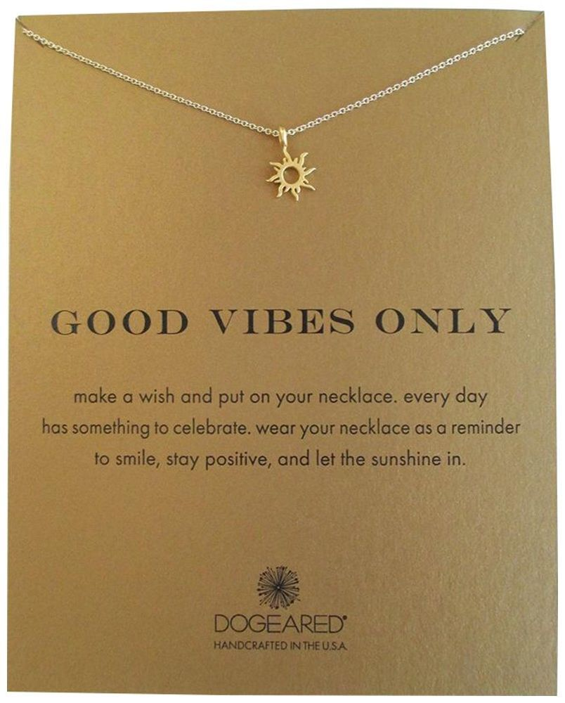 77d67c8e24f516 Dogeared Good Vibes Only Radiant Sun Reminder Gold Dipped 16