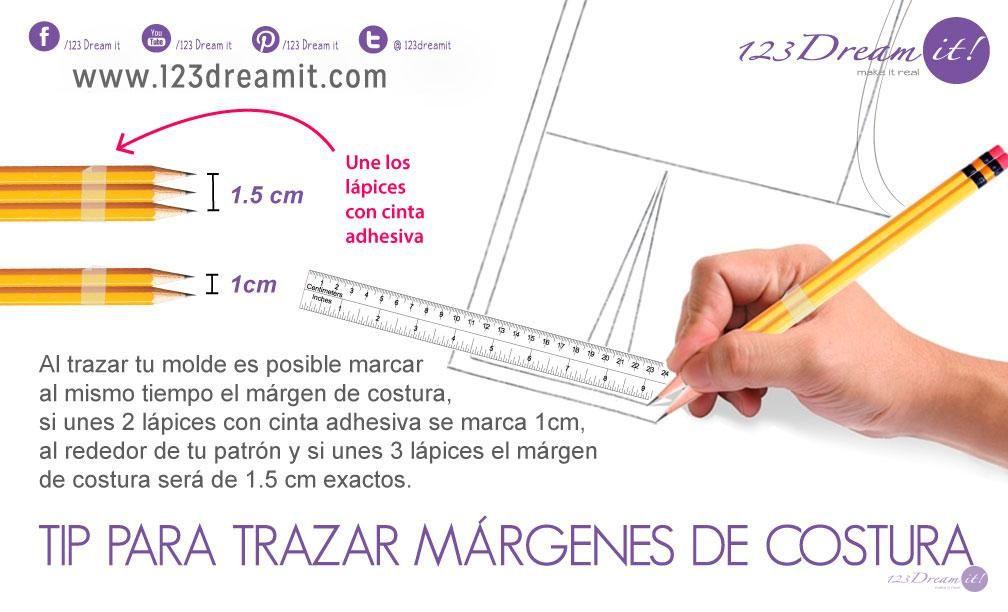 Ahorra tiempo al marcar los márgenes de costura sobre el patrón o ...