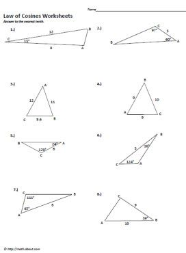 Worksheets Law Of Cosines Worksheet sin and cosine worksheets law of cosines change 3 printables worksheet 3