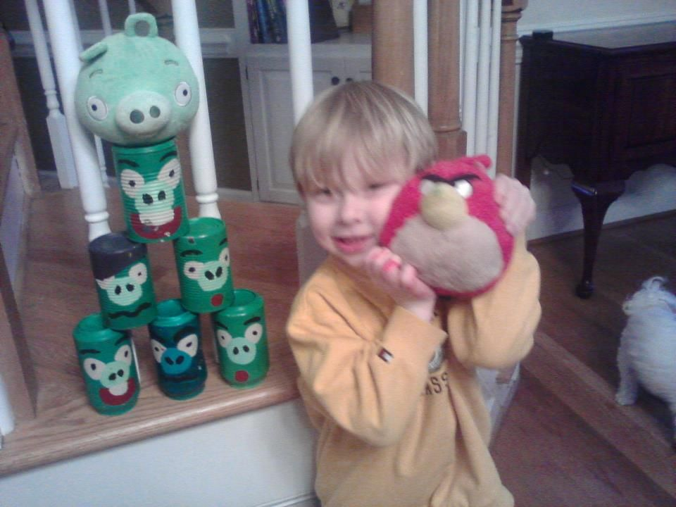 Angry Bird Pig Cans, the vegetable cans with the ridges are harder to paint and have sharp bottoms, I suggest soda cans!