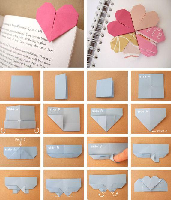 Coeur Marque Page En Origami Diy Pinterest Heart Bookmark