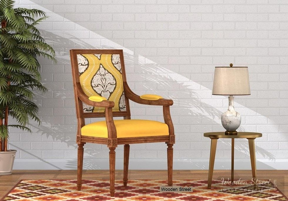 Buy Shell Arm Chair (Mustard Coral) Online in India