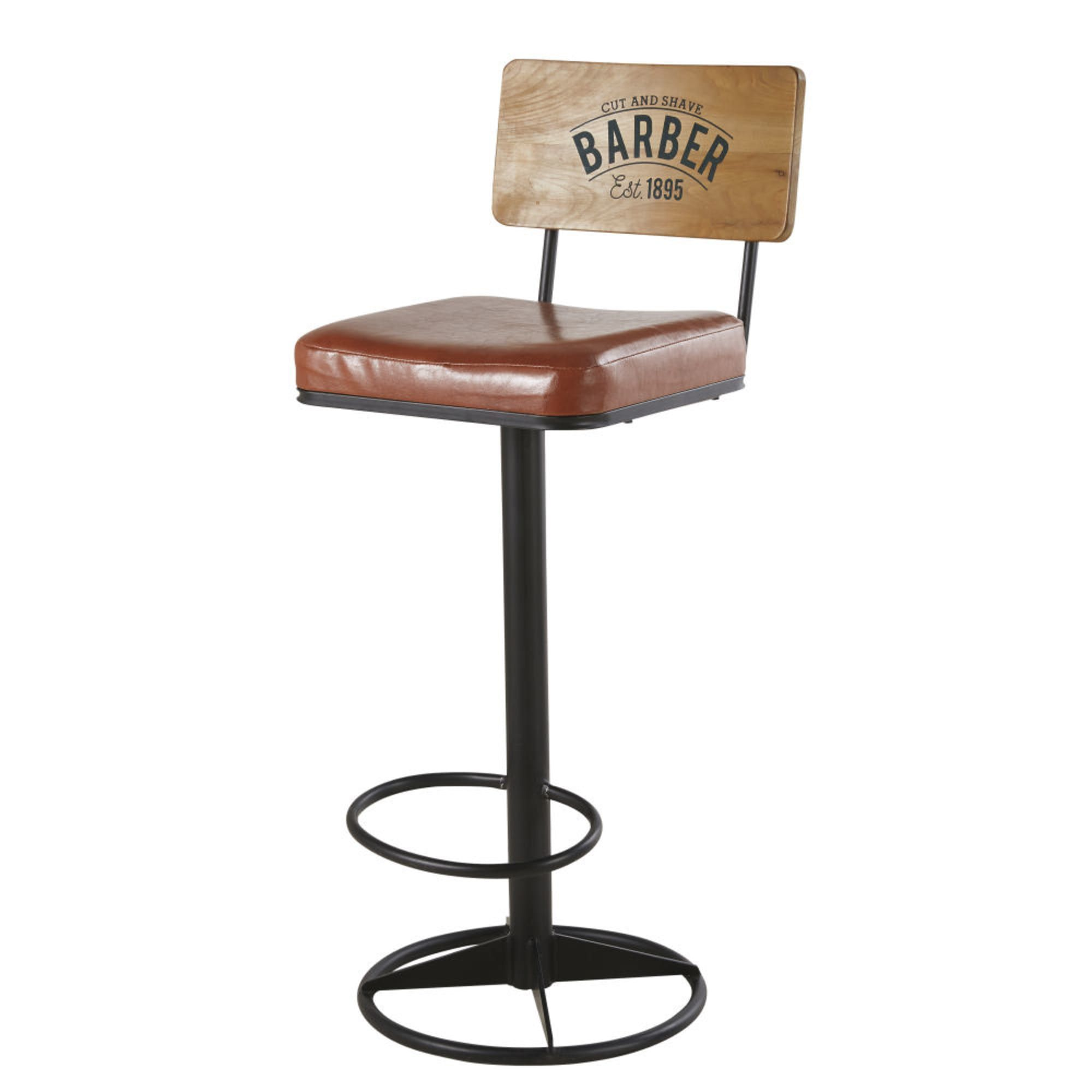 Chaise De Bar En Metal Noir Et Textile Enduit Marron Chaise Haute Cuisine Chaise Bar Chaise