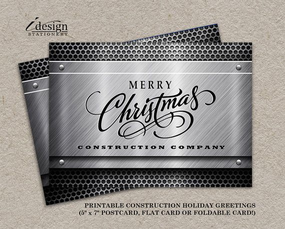 Personalized Business Christmas Cards.Construction Business Christmas Cards With Logo