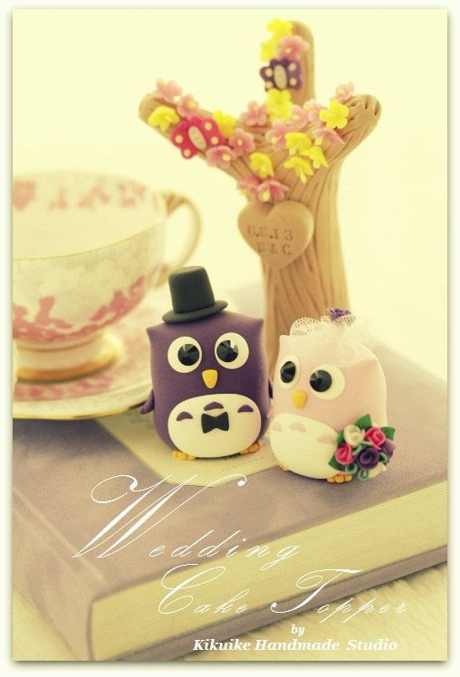 LOVE ANGELS Wedding Cake Topper-love owls with sakura by kikuike