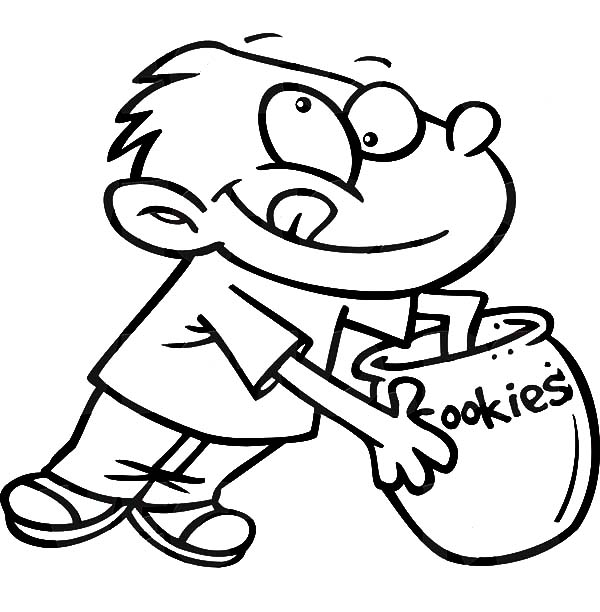 Boy Reaching Hand In A Cookie Jar Coloring Pages Coloring Sky Coloring Pages Online Coloring Clip Art