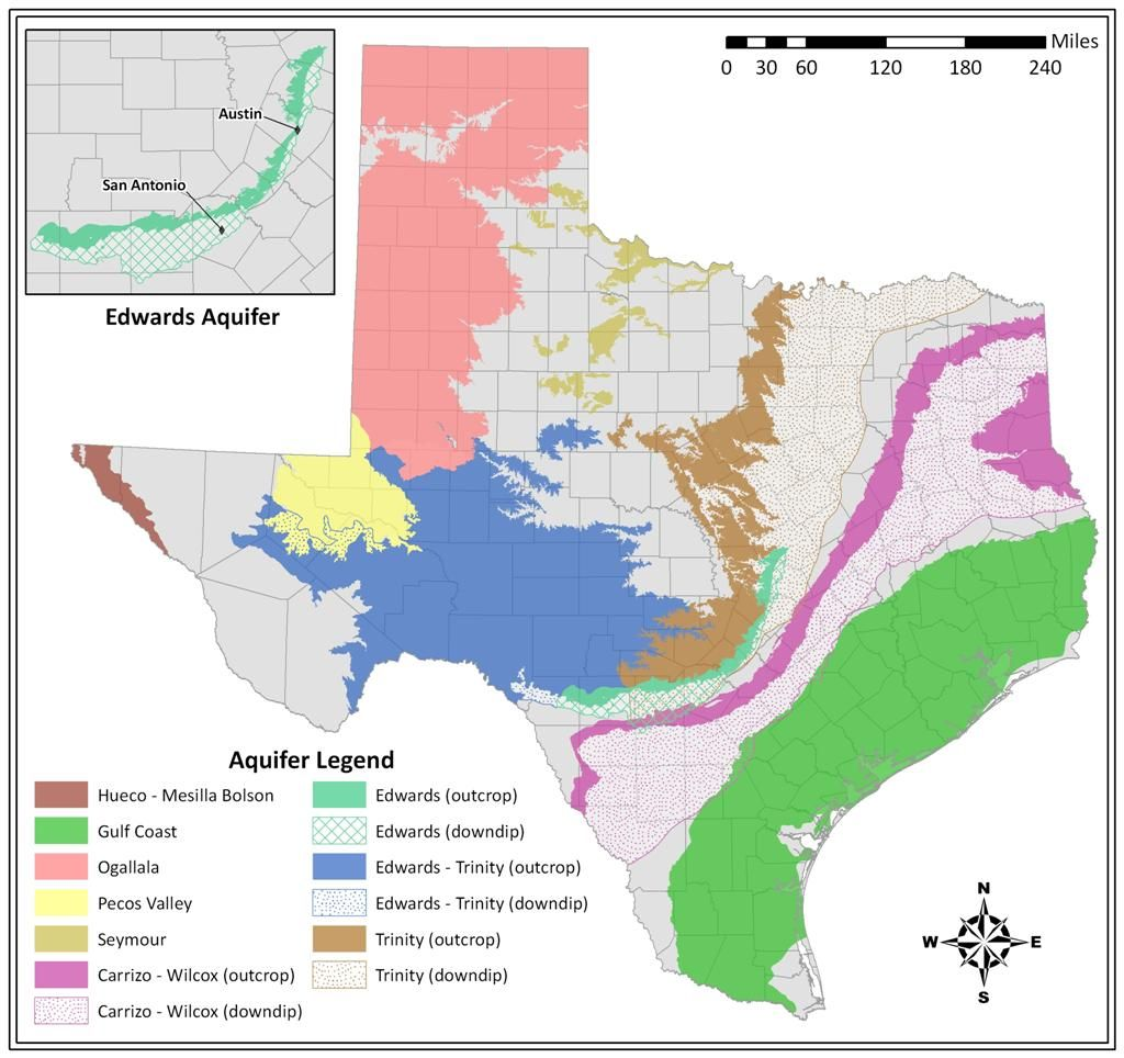 Texas Aquifers Map Edwards Aquifer | Texas map, Map, Ogallala