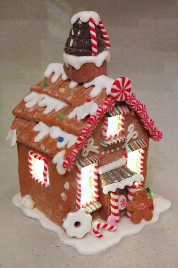 Check Our Brand New Brown Gingerbread House That Lights Up With Led Light Christmas Xmas Chr Gingerbread House Candy Christmas Tree Gingerbread Decorations