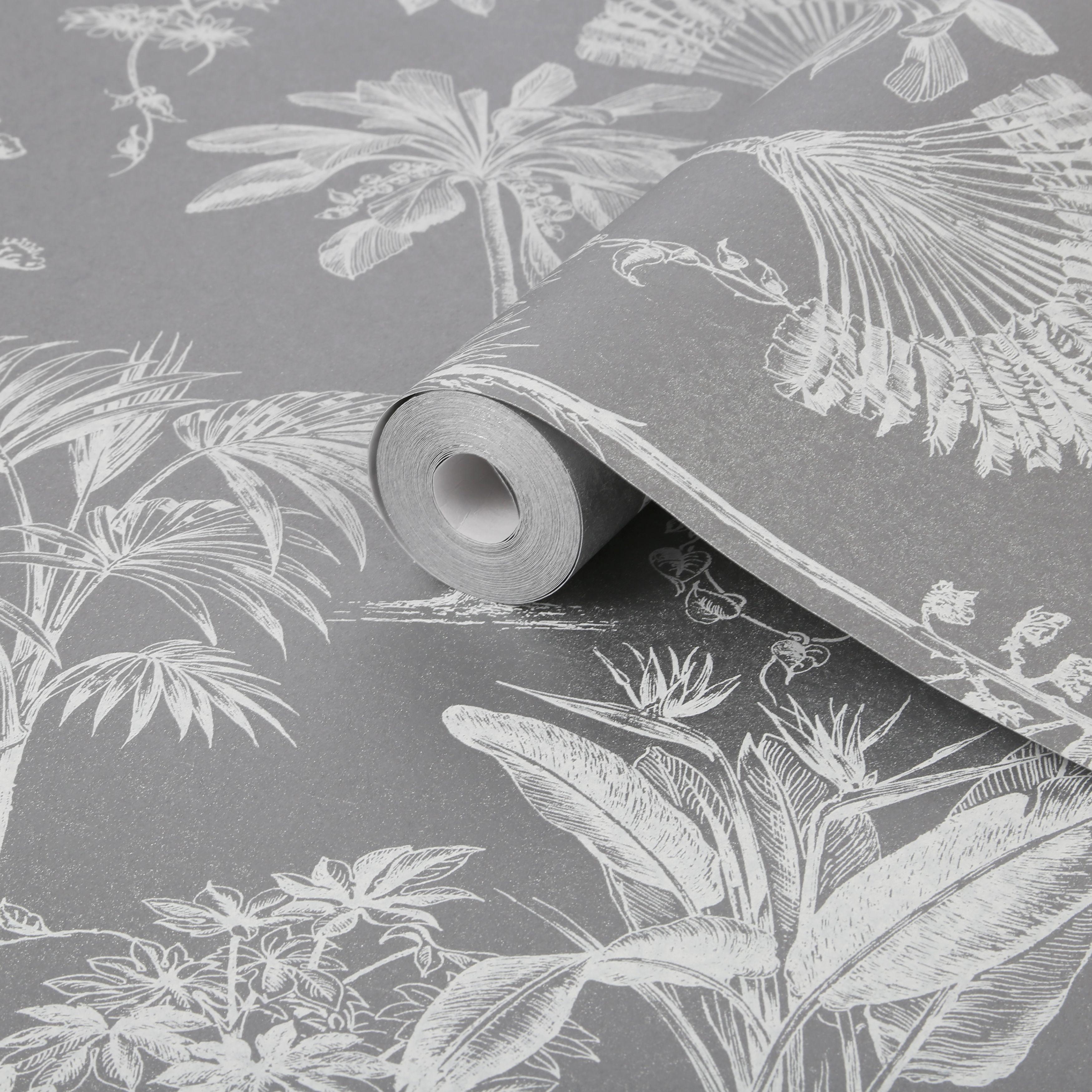 Graham & Brown Brunei Silver Leaves Metallic Effect Wallpaper