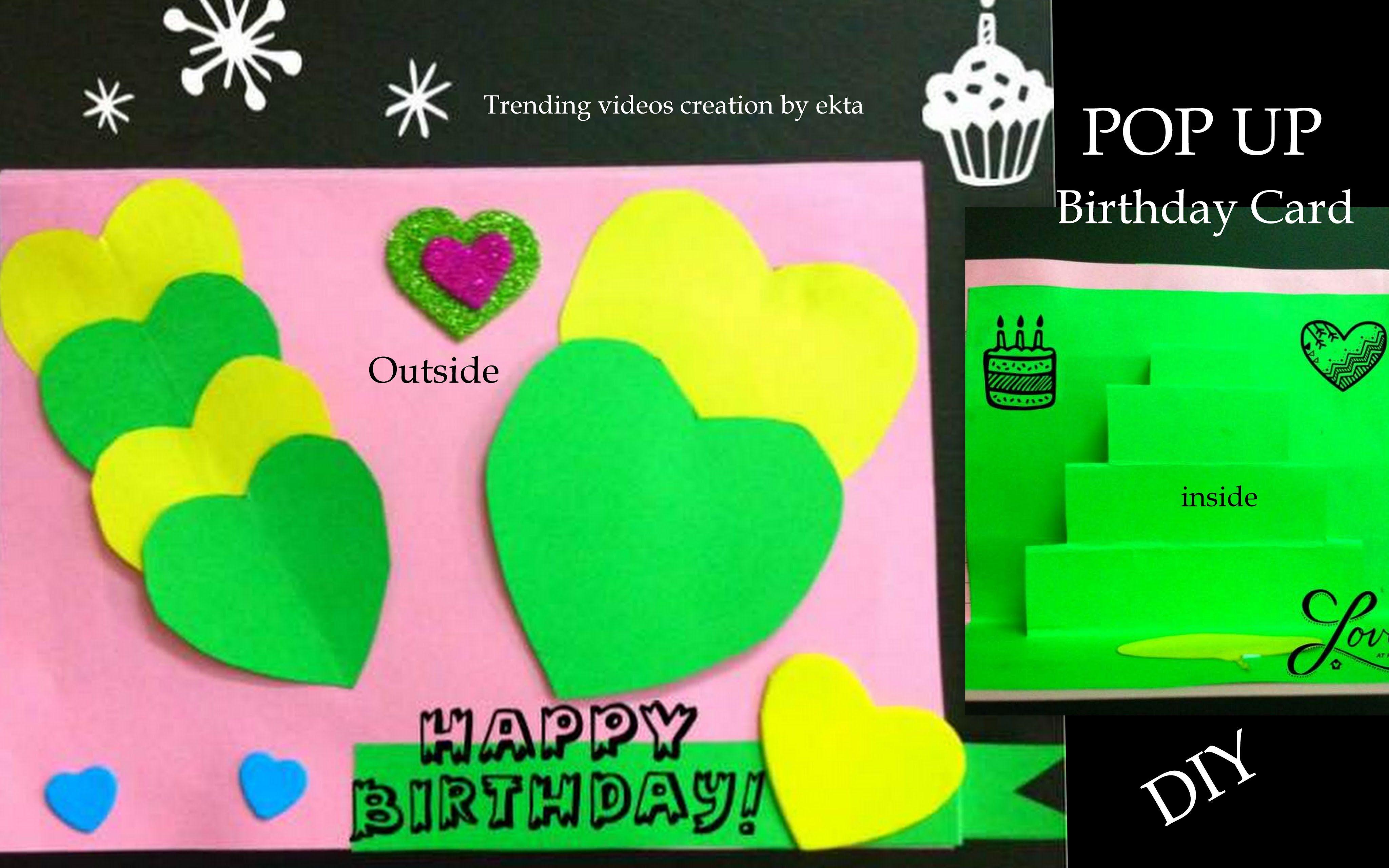 Birthday Card Paper And Handmade Beautiful Pop Up Card Tutorial Easy Diy Birthday Cards Birthday Cards Easy Birthday Cards Diy Card Tutorial