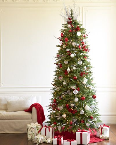 Where To Buy Balsam Hill Christmas Trees: Slim Balsam Hill Tree Decorated With Velvet Plum Blossom