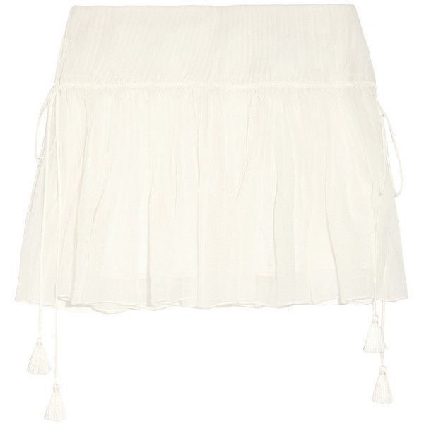 Chloé Pleated silk-crepon mini skirt ($1,925) ❤ liked on Polyvore featuring  skirts
