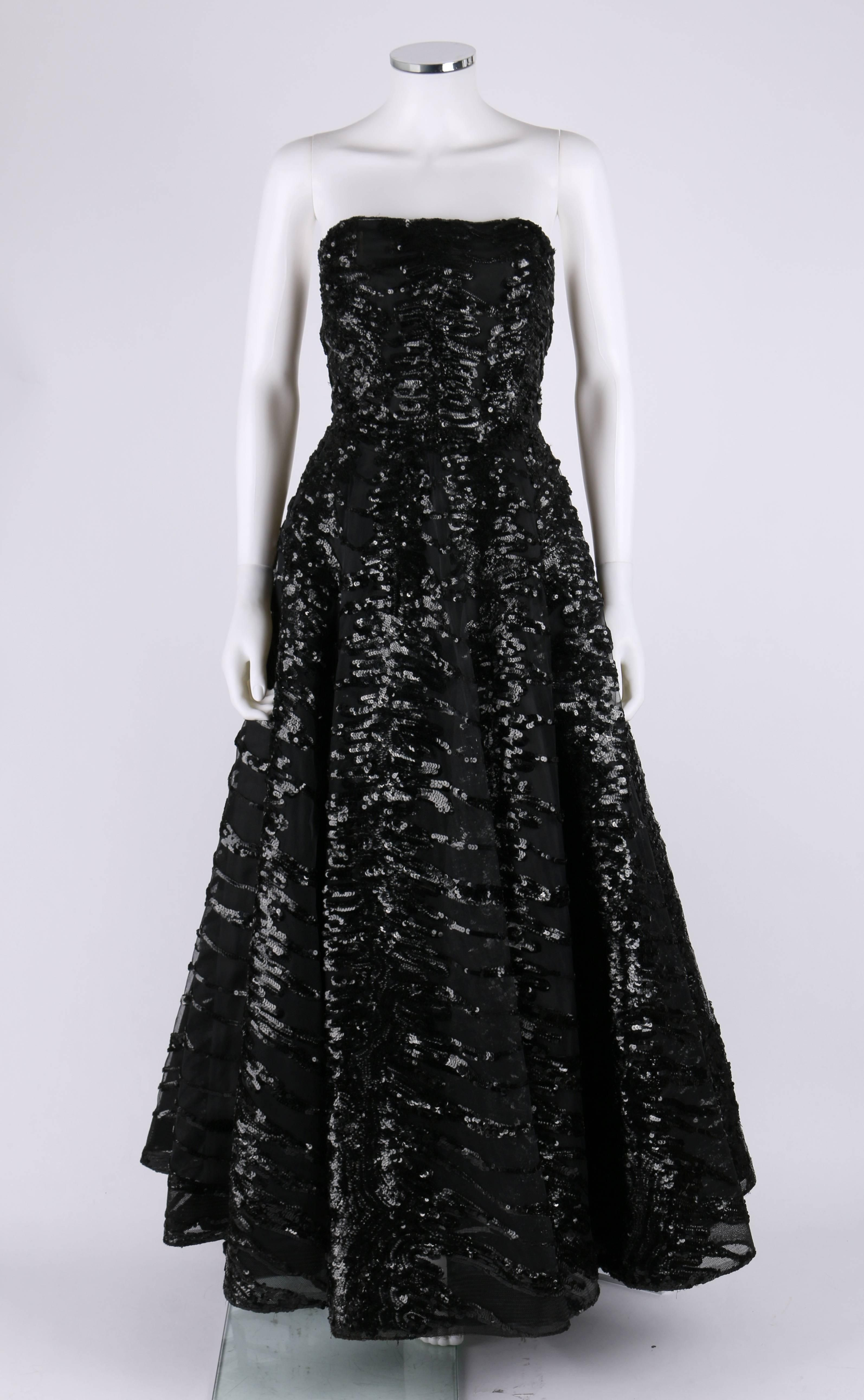 6558c6742f HAUTE COUTURE 1950s Black Sequin Ball Gown Evening Theater Opera Party Dress  For Sale at 1stdibs