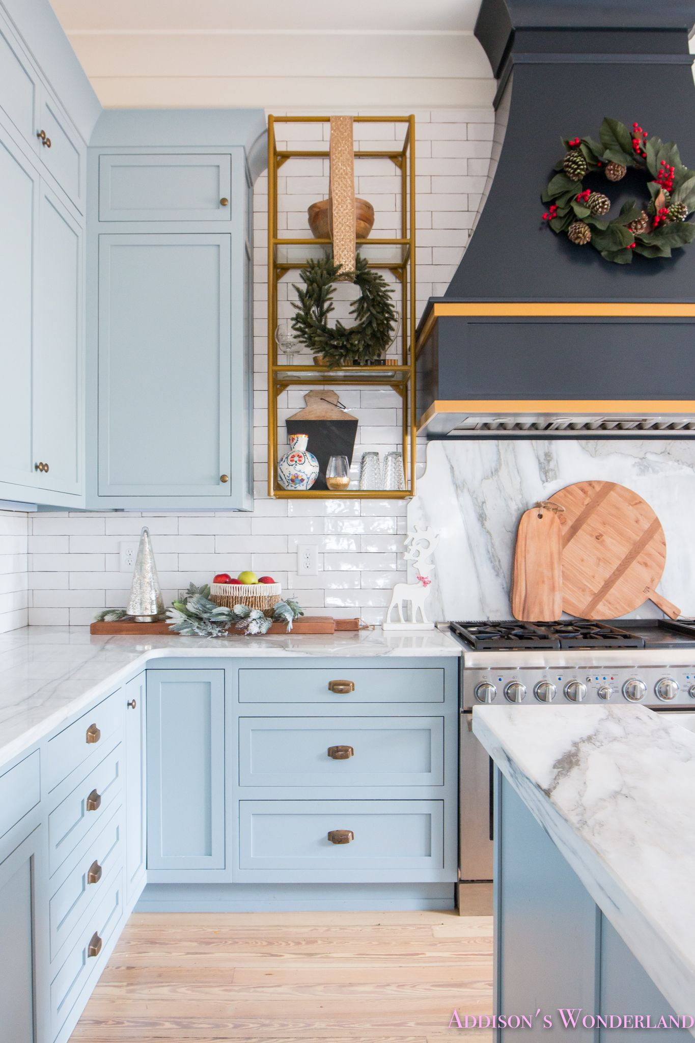 Inside Our Vintage Modern Style Holiday Kitchen... Sharing a peek inside our powder blue and white marble kitchen all decked out for Christmas! : holiday kitchen cabinet - hauntedcathouse.org