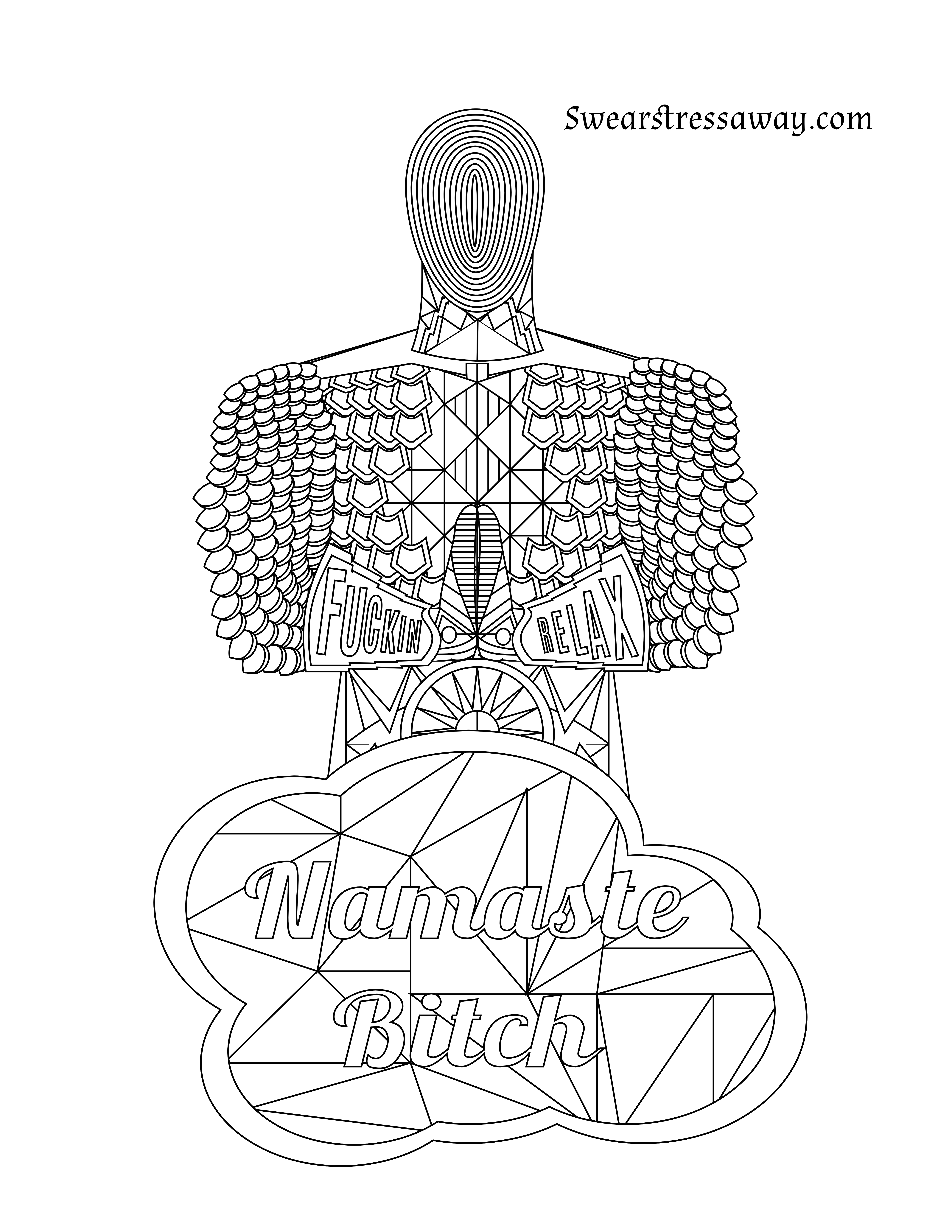 Namaste bitch swear word coloring page adult coloring page swearstressaway com