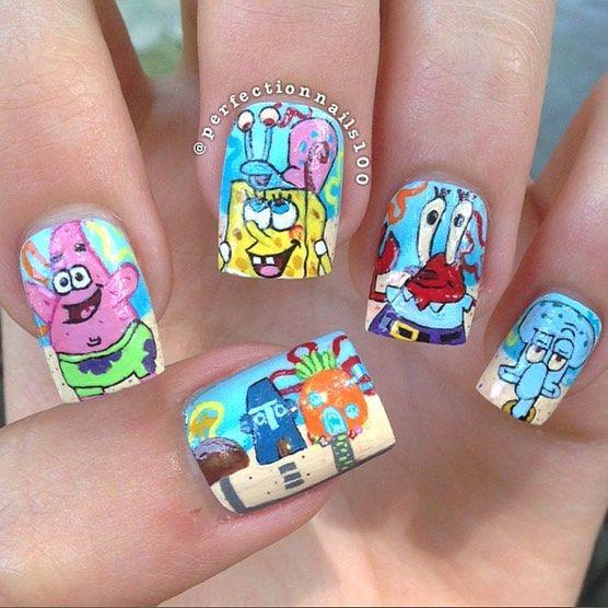 Perfectionnails100 Spongebob Nail Nails Nailart Nail Designs