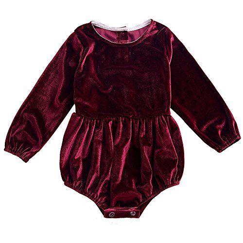 aaaa2eaf10e5 Weixinbuy Baby Girl s Romper Solid Color Long Sleeve Bodysuit ...