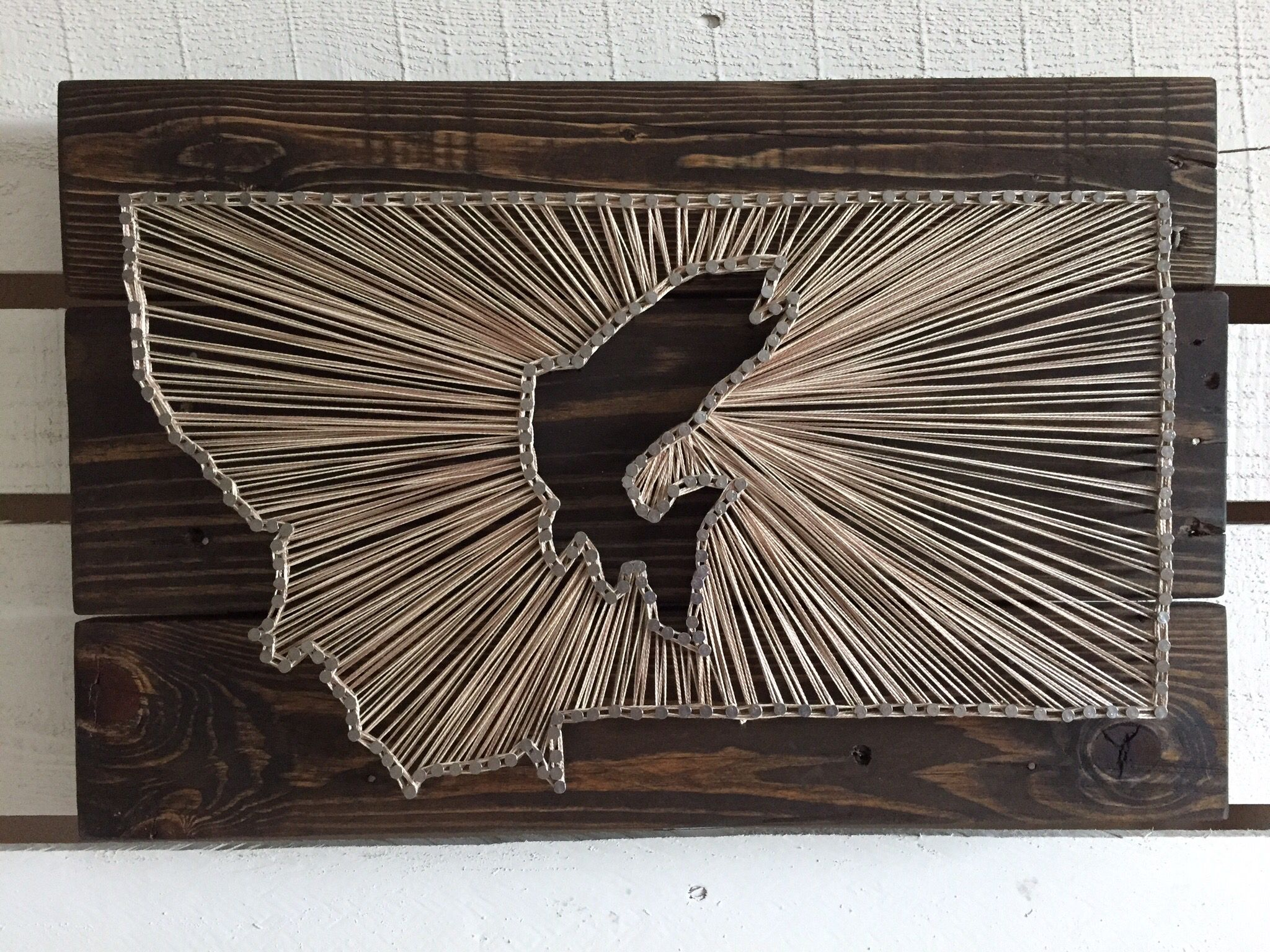 Montana fish string art pallet wood dark stain cream for Fish string art