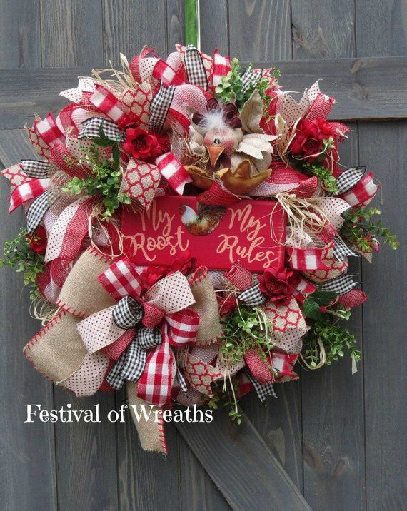 Country Deco Mesh Wreath - Farmhouse Wreath for Front Door - Rustic