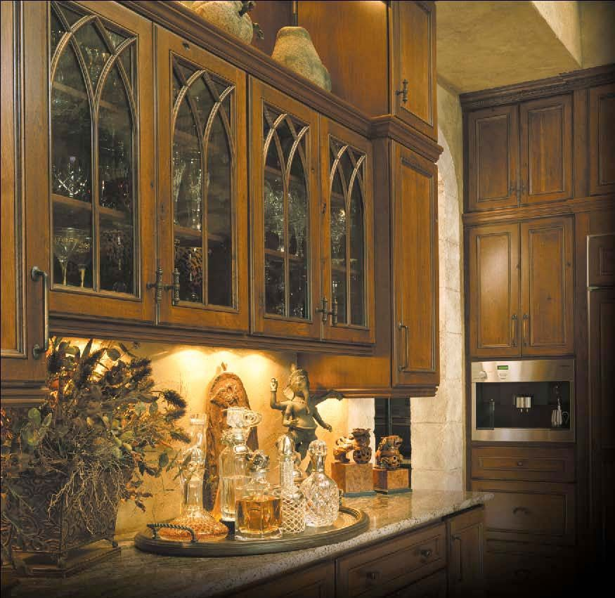 Ovation Cabinetry   Gothic Style Rustic Cherry Applied Molding Cabinet  Doors With Glass