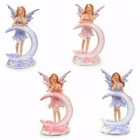 """Fairy Moon Figurines are 2 1/4"""" x 1 3/4"""" x 4 made with poly resin of a fairy with a crescent moon."""