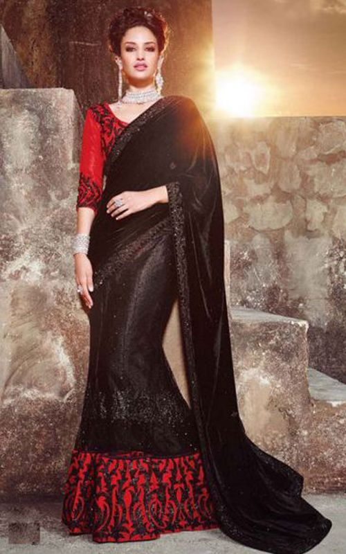 4c691031d01e0b Party Black Color Velvet Saree With Red Border | Glowindian Designer ...