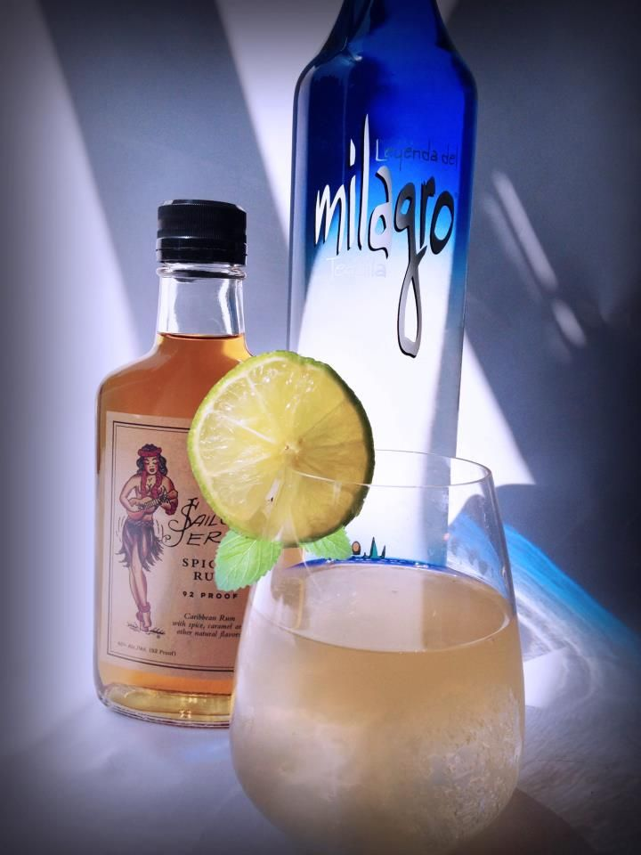 Tijuana Jerry    1 part Milagro Silver  1 part Sailor Jerry Rum  ¾ part fresh lime juice  ½ part agave nectar