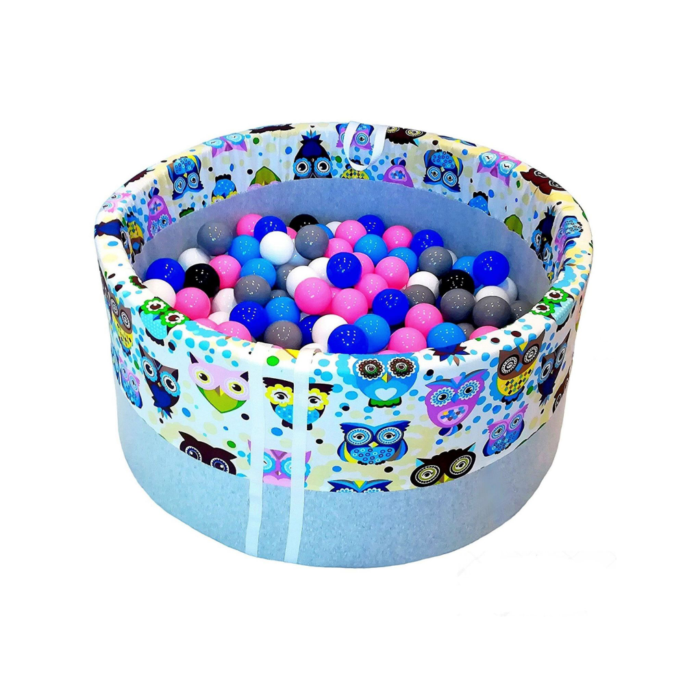 Suchy Basen Z Pileczkami Babyball Niebieskie Sowy Baby Ball Decorative Bowls Dog Bowls