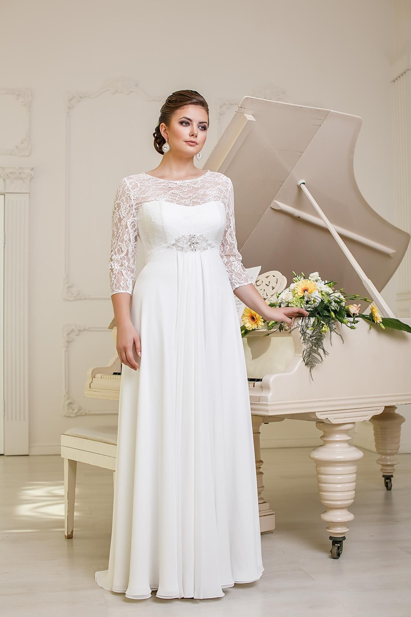 2015 Pw0006 Simple Graceful Flowing Scoop Beaded Sash 3 4 Sleeves Chiffon Floor Length A Empire Wedding Dress Empire Waist Wedding Dress Wedding Dress Sleeves [ 2000 x 1333 Pixel ]