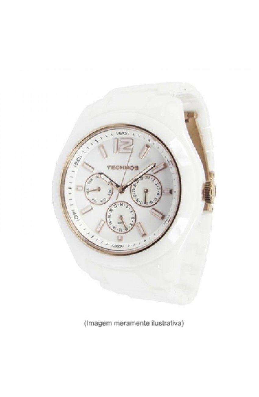 Relógio Technos Feminino Elegance Ceramic Sapphire Branco Com Rose Ref.  6P29Iq 1B 7a54472b6d