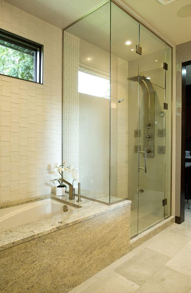 Clawfoot tub rain shower bathroom contemporary with glass shower en ...