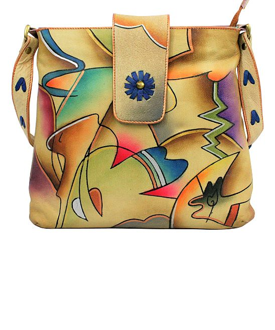 Blue & Pink Abstract Hand-Painted Leather Crossbody Bag