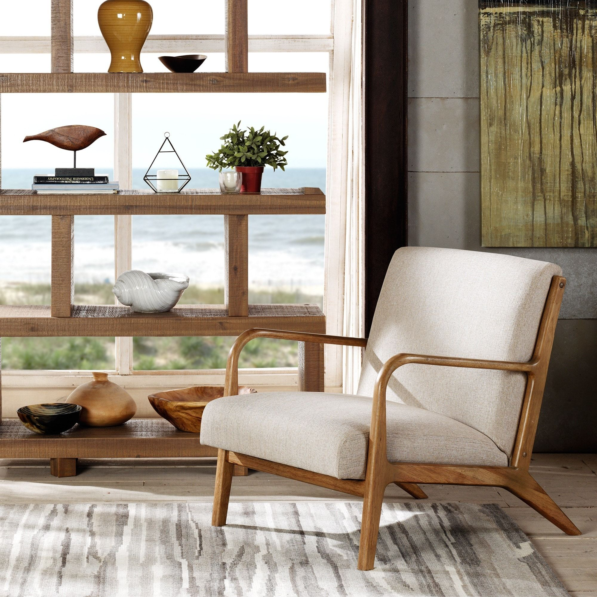 Inkivy Novak Cream Natural Lounge Chair  Overstock Shopping Alluring Overstock Living Room Chairs Decorating Inspiration