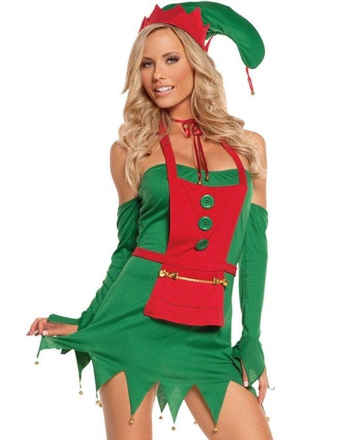 cd6d4c6c3c5 Details about Womens Sexy Sassy Elf Green Red Tutu Dress Tu Tu ...